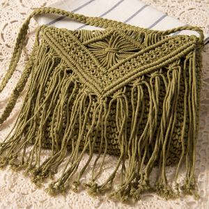 Crochet Fringed Cross Body Bag - Army Green - 37