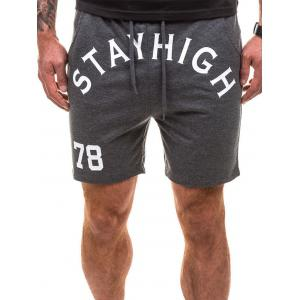 Drawstring Letter Graphic Running Sweat Shorts - Deep Gray - L