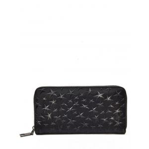 Star Embossing Clutch Wallet - Black