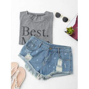 Ripped Dots Tassels Cuffed Denim Shorts