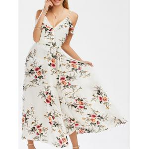 Low Cut A Line Dew Shoulder High Slit Tiny Floral Dress - White - 2xl