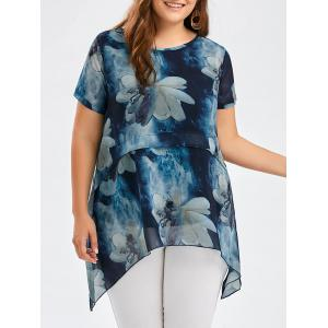 Flower Ink Painting Chiffon Plus Size Asymmetric Tunic Top - Blue - 4xl