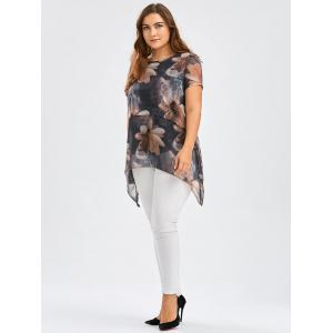 Flower Ink Painting Chiffon Plus Size Asymmetric Tunic Top - BLACK 3XL