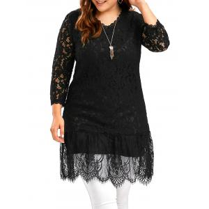 Openwork Plus Size Long Lace Scalloped Top - Black - 3xl