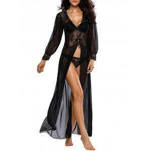 See-Through Mesh Maxi Sleep Babydoll Dress