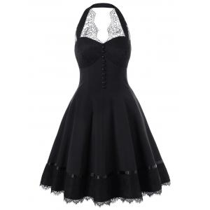 Lace Hem Single Breasted Halter 50s Dress