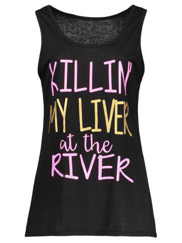 Affordable My Liver At The River Graphic Tank Top