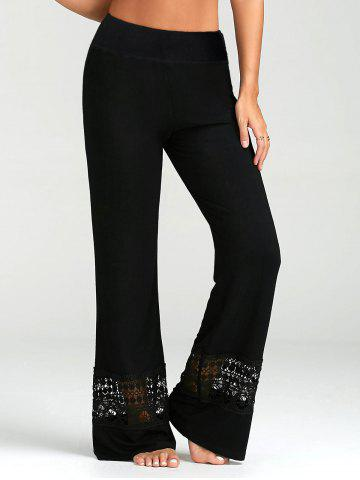 Latest Lace Insert High Waisted Palazzo Pants - XL BLACK Mobile