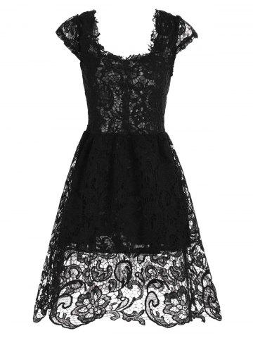 Affordable Lace Short Sleeve Skater Homecoming Formal Dress