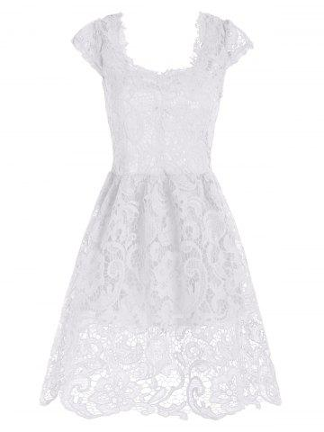 Cheap Lace Short Sleeve Skater Homecoming Formal Dress
