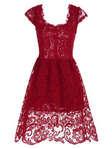 Lace Short Skater Homecoming Formal Dress - Red - S