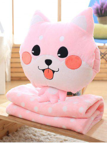 Detachable Washable Boston Terrier Cushion Velboa Pillow and Blanket - Pink - Euro King
