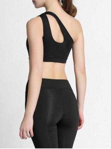 Outfits One Shoulder Cut Out Padded Sports Bra - S BLACK Mobile