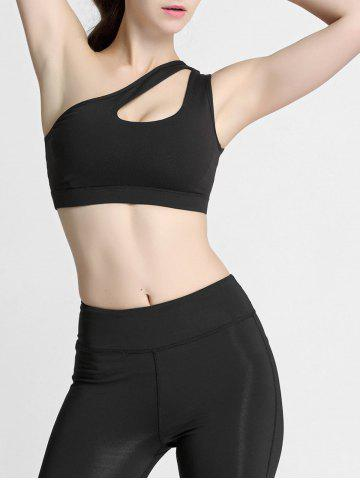 Cheap One Shoulder Cut Out Padded Sports Bra - S BLACK Mobile