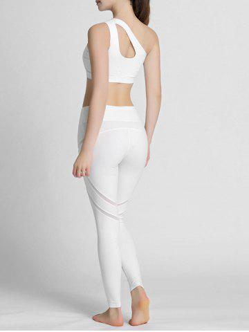Fashion One Shoulder Cut Out Padded Sports Bra - XL WHITE Mobile