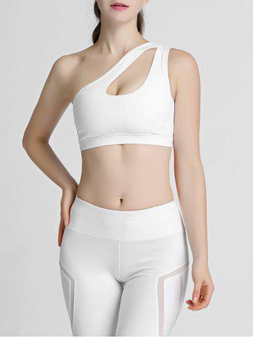 Discount One Shoulder Cut Out Padded Sports Bra - XL WHITE Mobile