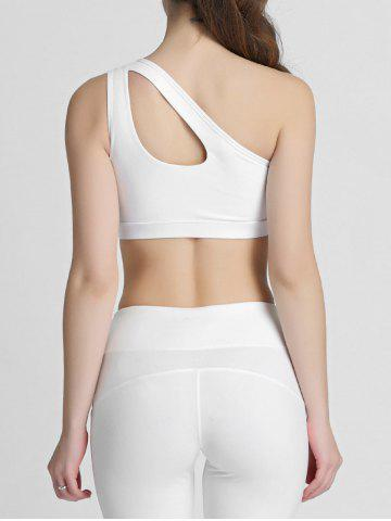 Hot One Shoulder Cut Out Padded Sports Bra - XL WHITE Mobile