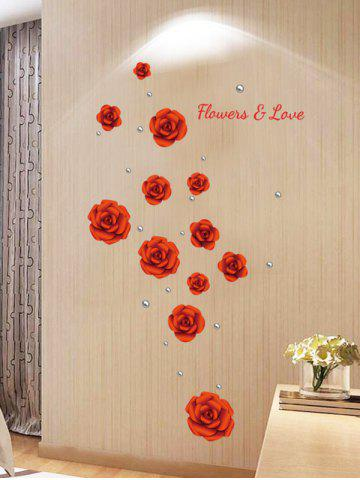 Fashion Rose Flowers DIY Vinyl Removable Wall Sticker - 60*90CM RED Mobile