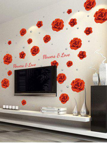 Discount Rose Flowers DIY Vinyl Removable Wall Sticker - 60*90CM RED Mobile
