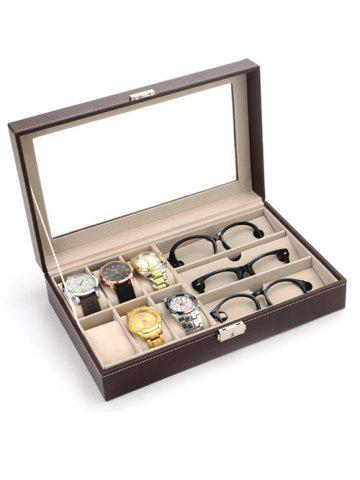 9 Grids Collection Classic Leather Watch and Glasses Case Display Box - Black