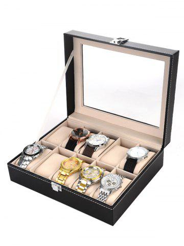 10 Grids Collection Classic Leather Watch Case Display Box Noir