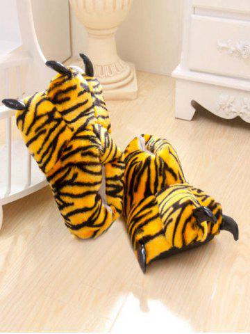 Tiger Stripes Leopard Print Bear Claw Peluche Talon Cover Couples Slippers Jaune
