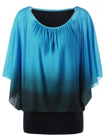 Best Ombre Butterfly Sleeve Plus Size T-Shirt LAKE BLUE 4XL