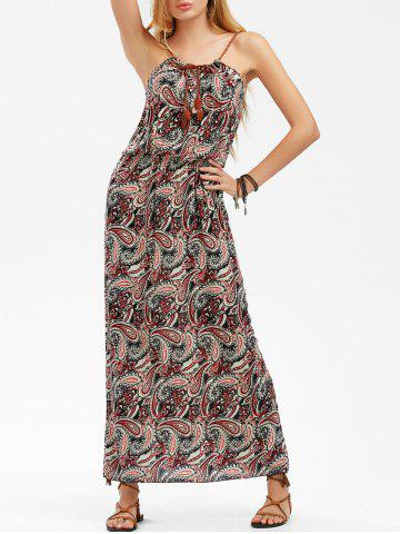 Buy Paisley Print Maxi Boho Slip Beach Dress BLACK AND RED ONE SIZE