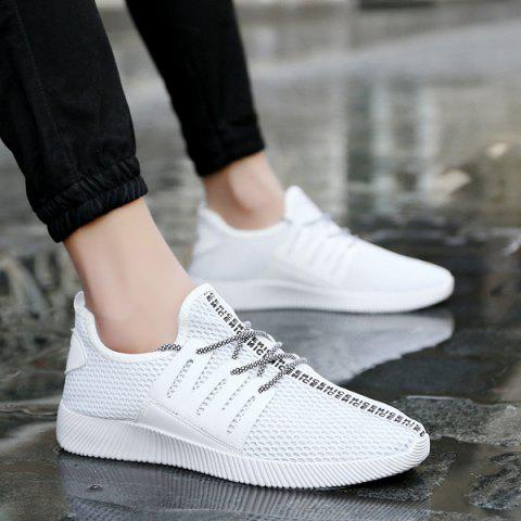 Mesh Letter Pattern Casual Shoes - White - 43