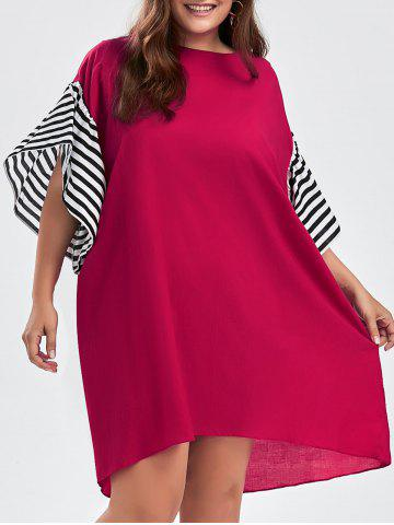 Stripe Plus Size Drop Shoulder Oversized Tee Dress - Red - One Size