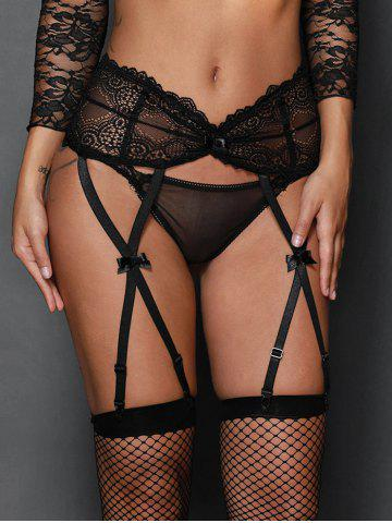 Steel Boned Lace Garter Briefs - Black - S