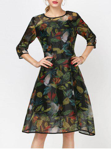 Unique Fashionable Collar Printed Organza Dress Sleeve For Women INK PAINTING S