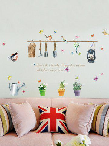 Affordable Butterfly Quotes Plant Bird Wall Sticker - 50*70CM COLORFUL Mobile