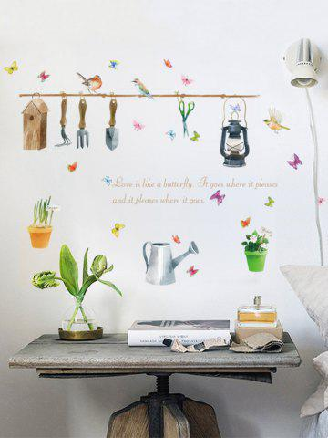 Latest Butterfly Quotes Plant Bird Wall Sticker - 50*70CM COLORFUL Mobile