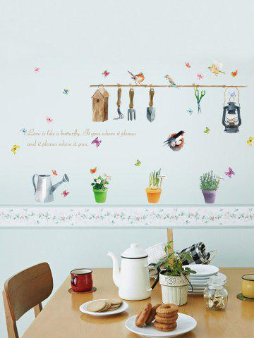 Outfit Butterfly Quotes Plant Bird Wall Sticker - 50*70CM COLORFUL Mobile