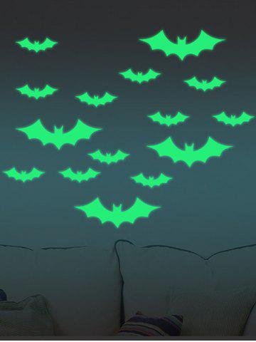 Shop Noctilucence Bat Cartoon Wall Stickers For Kids - 56*8CM NEON GREEN Mobile