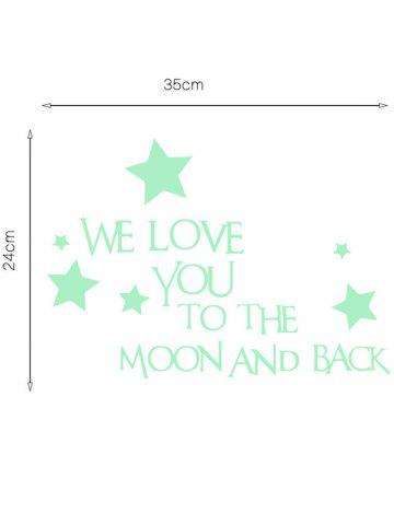 Fancy Luminous Star Quote Vinyl Stickers For Wall - 24*35CM NEON GREEN Mobile