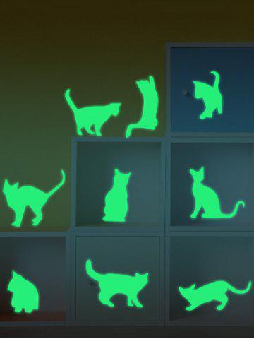 Cat Animals Luminous Wall Stickers For Kids - Neon Green - 55*13cm