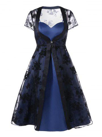 Trendy Slit Dress with Organza Duster Coat BLACK AND BLUE 2XL