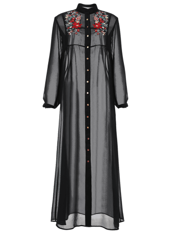 Unique Long Sleeve Floral Button Up Sheer Maxi Shirt Dress - M BLACK Mobile