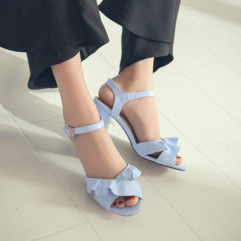 Trendy Block Heel Ruffles Sandals