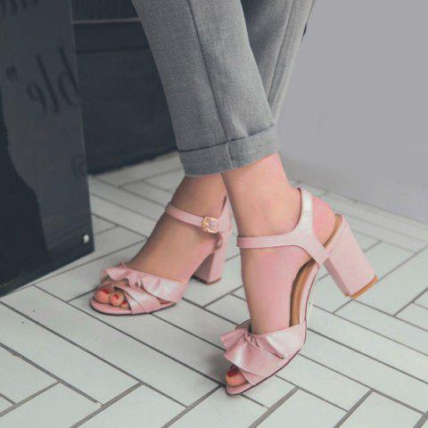 New Block Heel Ruffles Sandals - 38 PINK Mobile