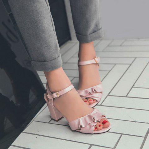 Latest Block Heel Ruffles Sandals - 38 PINK Mobile