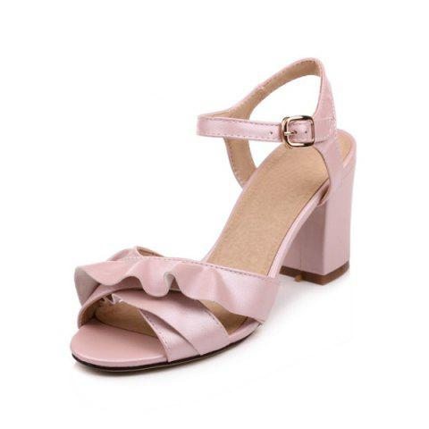 Shops Block Heel Ruffles Sandals - 38 PINK Mobile
