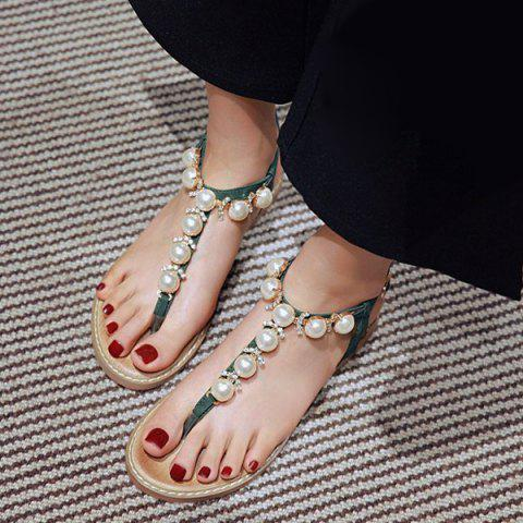 Outfit Rhinestones Artificial Pearls Sandals - 38 BLACKISH GREEN Mobile