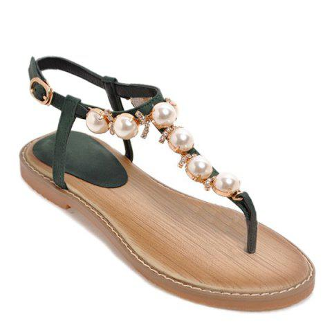 Cheap Rhinestones Artificial Pearls Sandals - 38 BLACKISH GREEN Mobile