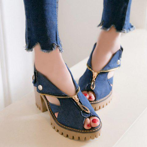 Store Zipper Denim Sandals - 38 DEEP BLUE Mobile