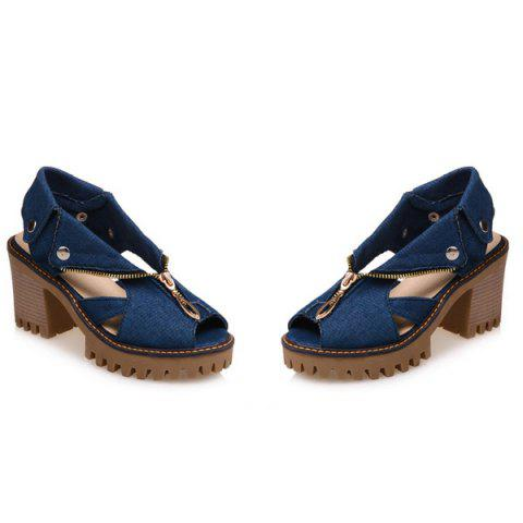 Fashion Zipper Denim Sandals - 38 DEEP BLUE Mobile