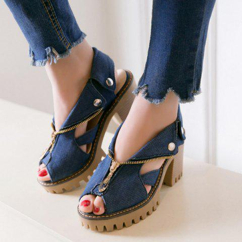 Hot Zipper Denim Sandals - 38 DEEP BLUE Mobile