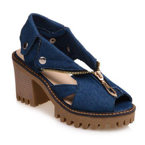 Shops Zipper Denim Sandals - 38 DEEP BLUE Mobile